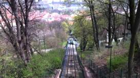 Prague funicular that leads up to Petrin.